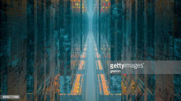 futuristic urban street - conformity stock pictures, royalty-free photos & images