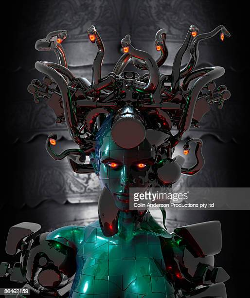 futuristic version of medusa - medusa stock photos and pictures