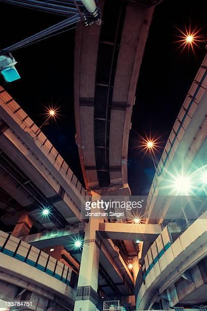 Futuristic vonverging Tokyo highways