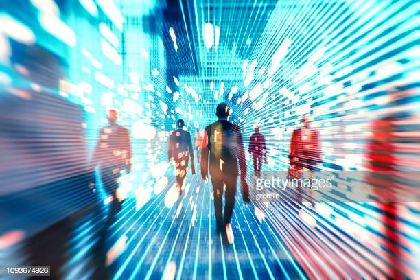 futuristic vr businessmen - flowing stock pictures, royalty-free photos & images