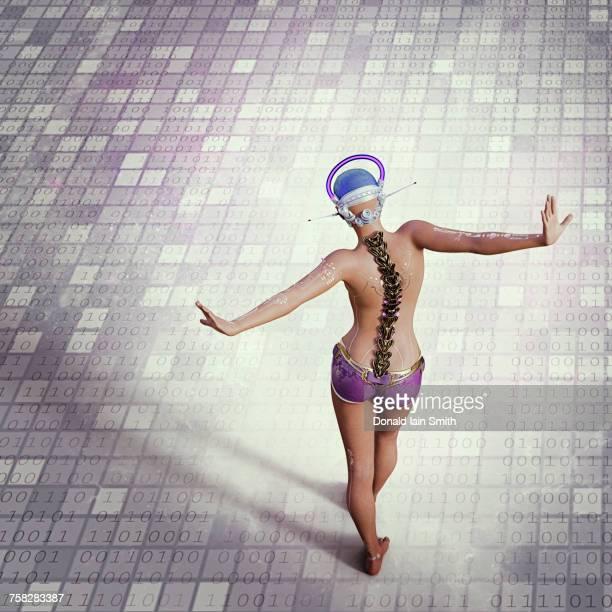 Futuristic woman balancing on binary code floor