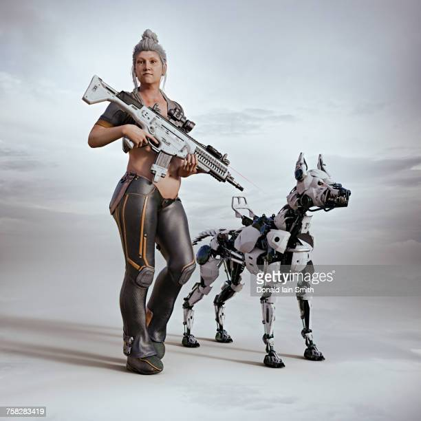 Futuristic woman carrying rifle with a robot dog