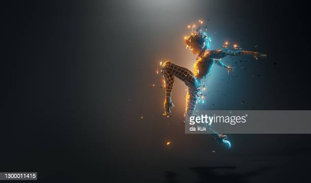 futuristic woman dance pose - electric light stock pictures, royalty-free photos & images