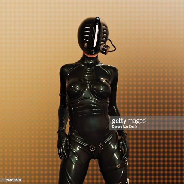 futuristic woman in protective latex suit with gas mask - latex stock pictures, royalty-free photos & images