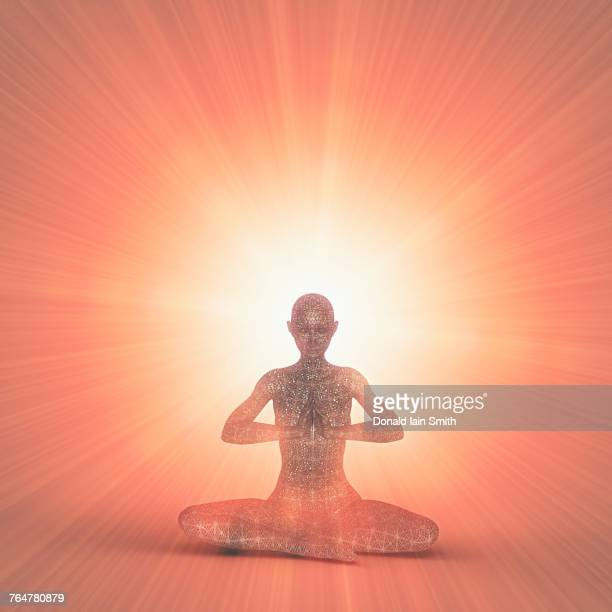 Futuristic woman meditating in orange beams of light