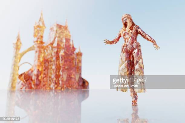 Futuristic woman near castle