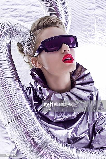 futuristic woman - silver dress stock pictures, royalty-free photos & images
