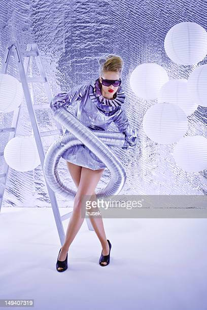 futuristic woman - gray dress stock pictures, royalty-free photos & images