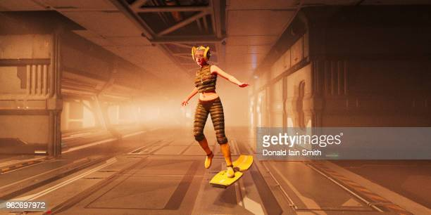 futuristic woman riding hover board in corridor - hoverboard stock pictures, royalty-free photos & images
