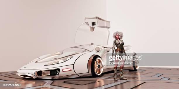 Futuristic woman standing beside sleek white future car