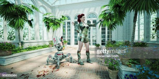 Futuristic woman teaching robot about plants in conservatory