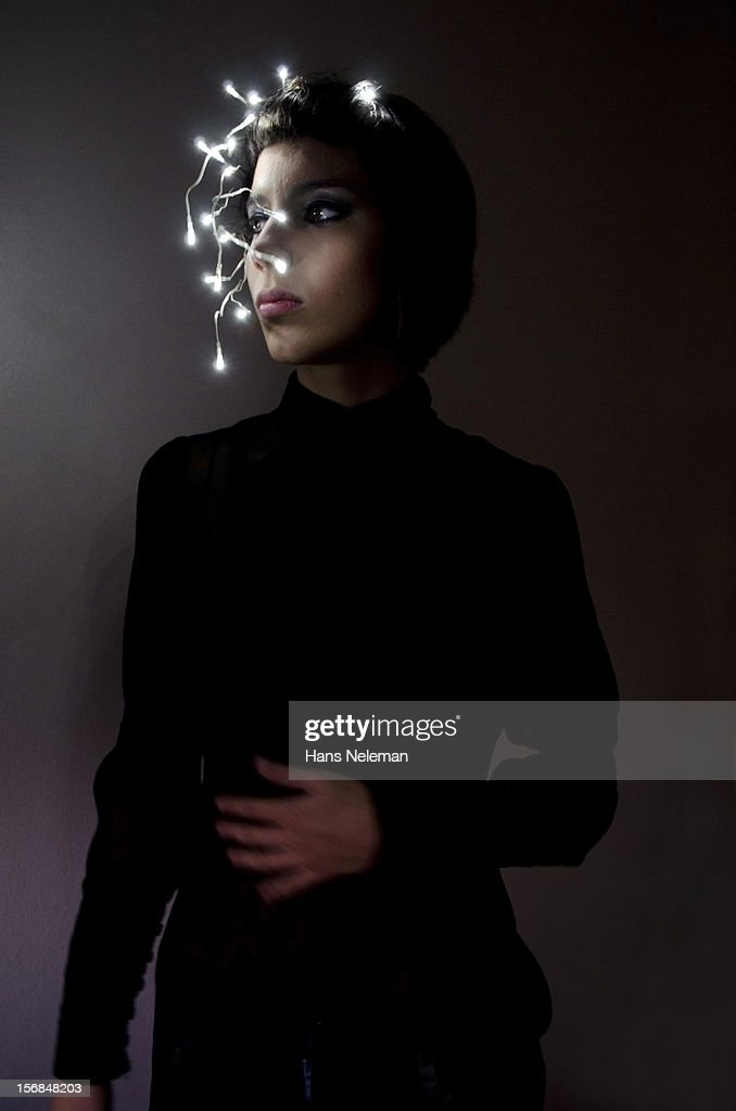 Futuristic Woman wearing lights : Foto de stock