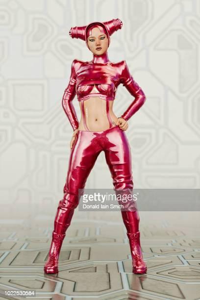 futuristic woman with body modifications, interactive circuit tattoos, and exotic headgear - gummihose stock-fotos und bilder