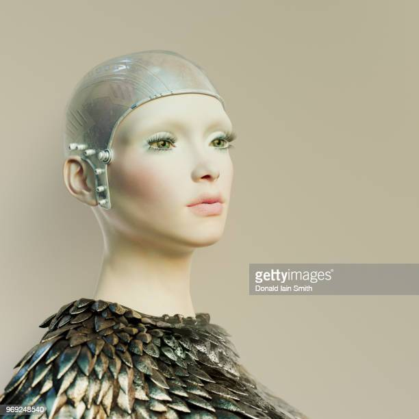 Futuristic woman with porcelain skin and head-cap