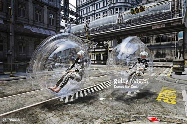 Futuristic women riding in transparent transportation