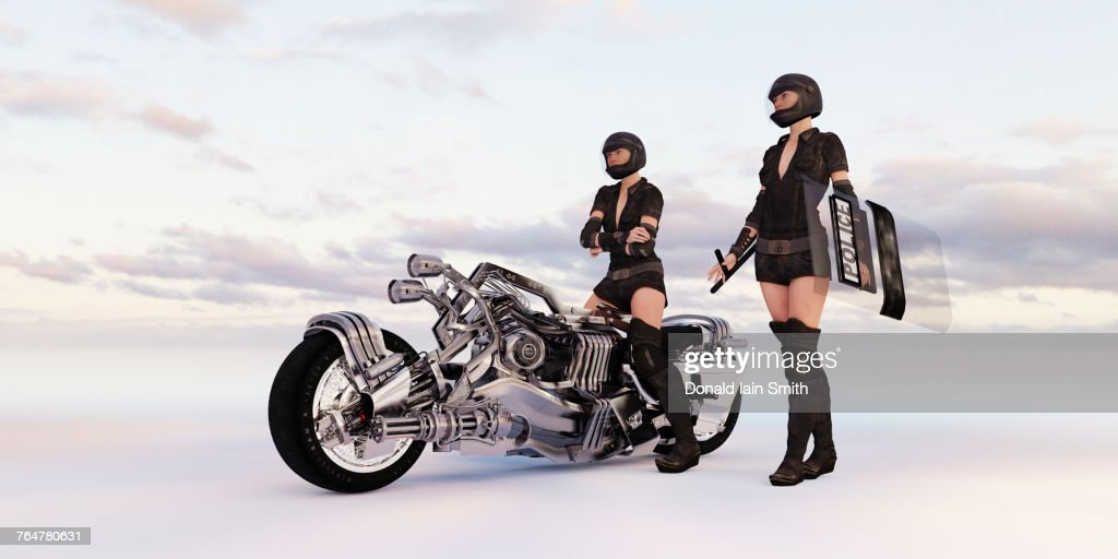 Futuristic women riot police with motorcycle : Stock Photo