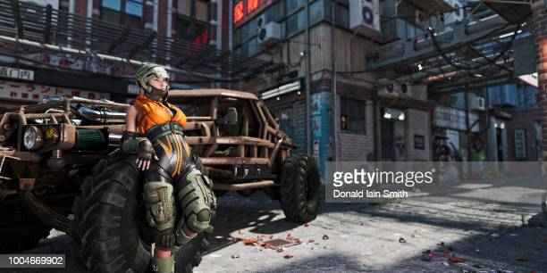 Futuristic young female street pilot with powerful car in city backstreets