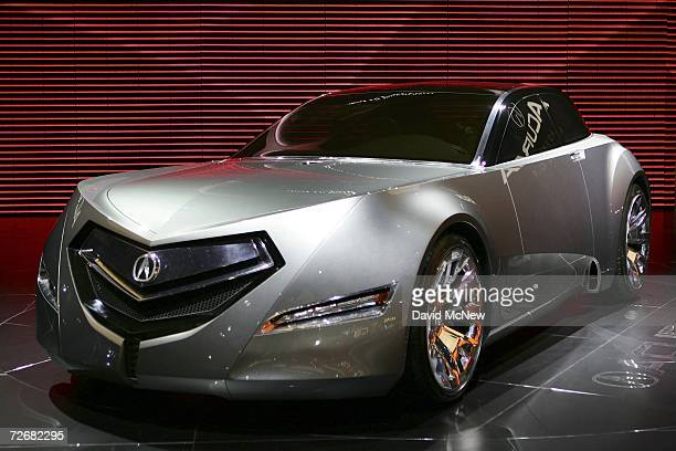 A futuristiclooking Acura sedan concept car is displayed during Media Days preview at the 100th annual Los Angeles Auto Show in the Los Angeles...