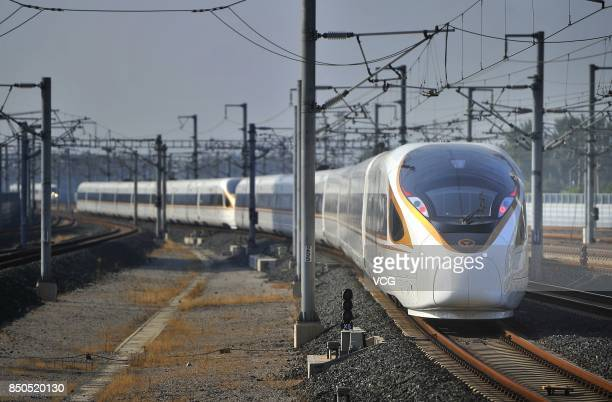 A 'Fuxing' bullet train at Jinan West Railway Station on September 21 2017 in Jinan Shandong Province China China's 'Fuxing' bullet trains start to...
