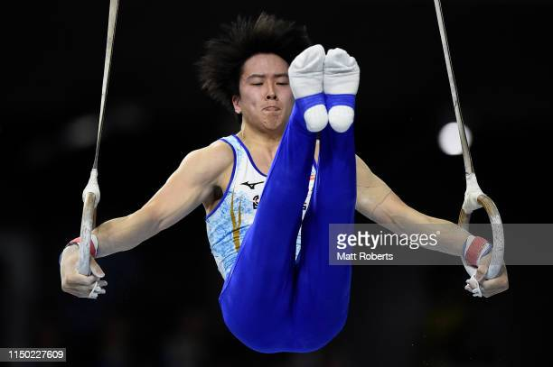 Fuya Maeno of Japan competes on the Rings during day two of the Artistic Gymnastics NHK Trophy at Musashino Forest Sport Plaza on May 19, 2019 in...