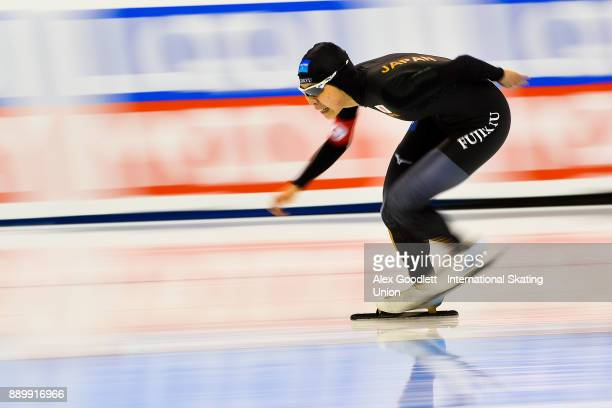 Fuyo Matsuoka of Japan competes in the ladies 3000 meter final during day 3 of the ISU World Cup Speed Skating event on December 10 2017 in Salt Lake...