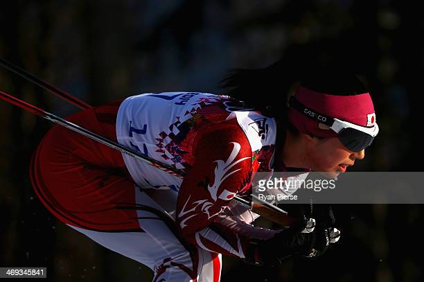 Fuyuko Suzuki of Japan competes during the Biathlon Women's 15km Individual on day seven of the Sochi 2014 Winter Olympics at Laura Crosscountry Ski...