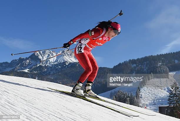 Fuyuko Suzuki of Japan competes during the women's 75 km sprint event during the IBU Biathlon World Cup on December 12 2014 in Hochfilzen Austria