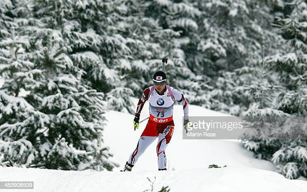 Fuyuko Suzuki of japan competes in the women's 75km sprint event during the IBU Biathlon World Cup on December 6 2013 in Hochfilzen Austria