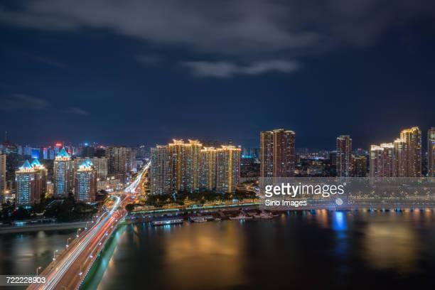 Fuzhou cityscape and waterfront at night, Fujian, China