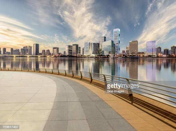 Fuzhou skyline and waterfront seen from promenade, Fujian, China