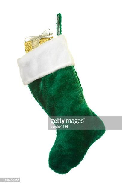fuzzy green christmas stocking - christmas stocking stock pictures, royalty-free photos & images