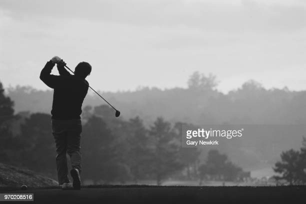 Fuzzy Zoeller of the United States tees off during the ATT Pebble Beach ProAm golf tournament on 5 February 1995 at the Pebble Beach Golf Course in...