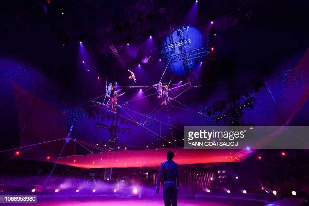 Fying trapeze Aliev's troupe performs during the gala of the 43th MonteCarlo International Circus Festival in Monaco on January 22 2019 The festival...