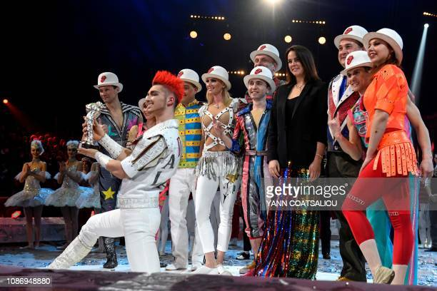 Fying trapeze Aliev's troupe receives a silver clown awards from Pauline Ducruet daughter of Princess Stephanie of Monaco during the gala of the 43th...