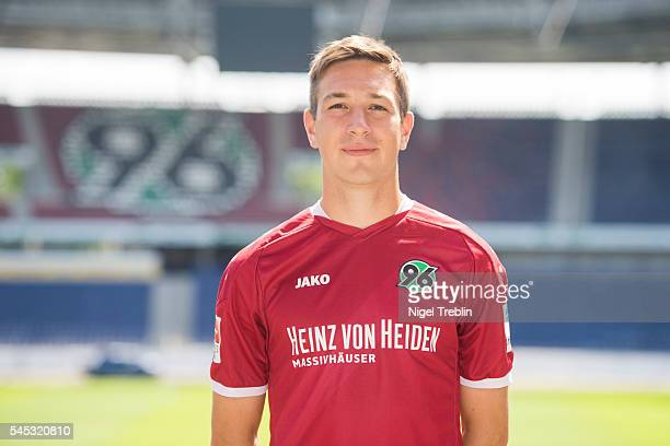 Fynn Arkenberg poses during the team presentation of Hannover 96 on July 7 2016 in Hanover Germany
