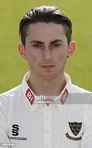 Fynn Hudson-Prentice during the Sussex County Cricket Photocall at BrightonandHoveJobs.com County Ground on April 9, 2015 in Hove, England.