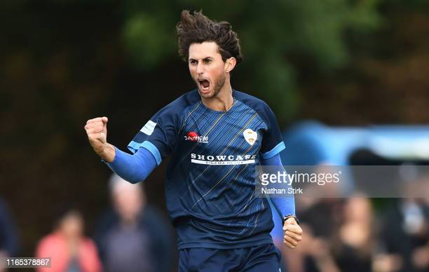 Fynn HudsonPrentice of Derbyshire celebrates as he gets Riki Wessels of Worcestershire out during the Vitality Blast match between Worcestershire...