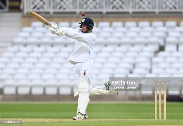 Fynn Hudson-Prentice of Derbyshire in action during Day 4 of the Bob Willis Trophy match between Nottinghamshire and Derbyshire at Trent Bridge on...