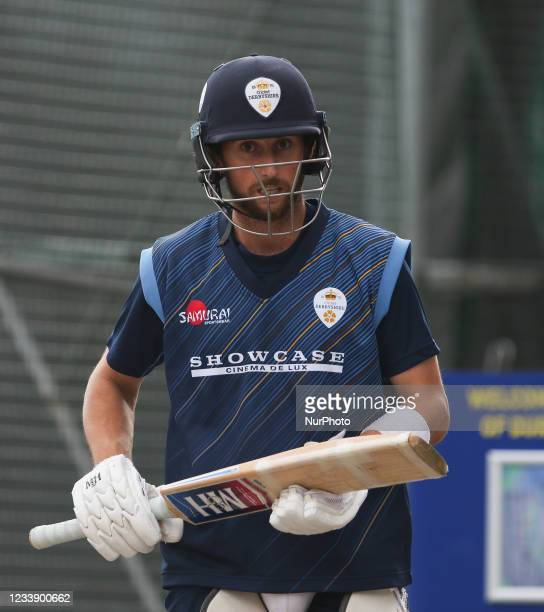 Fynn Hudson-Prentice of Derbyshire seen ahead of the Vitality Blast T20 match between Durham County Cricket Club and Derbyshire County Cricket Club...