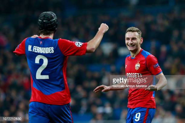 Fyodor Chalov of CSK Moscow celebrates after scoring his team's first goal during the UEFA Champions League Group G match between Real Madrid and...