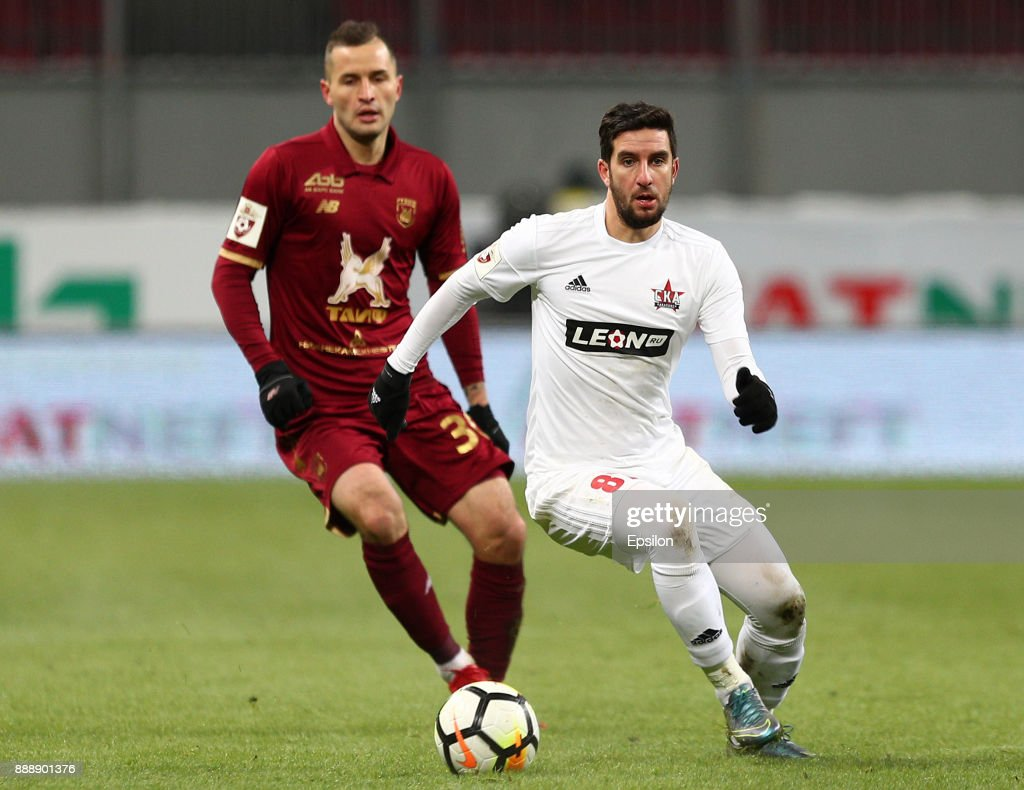 Fyodor Kudryashov (l) of FC Rubin Kazan vies for the ball with Maksim Kazankov SKA Khabarovsk during the Russian Premier League match between FC Rubin Kazan and SKA Khabarovsk at Kazan Arena stadium on December 9, 2017 in Kazan, Russia.