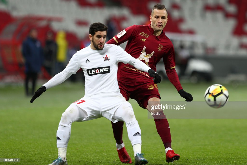 Fyodor Kudryashov (r) of FC Rubin Kazan vies for the ball with Maksim Kazankov SKA Khabarovsk during the Russian Premier League match between FC Rubin Kazan and SKA Khabarovsk at Kazan Arena stadium on December 9, 2017 in Kazan, Russia.