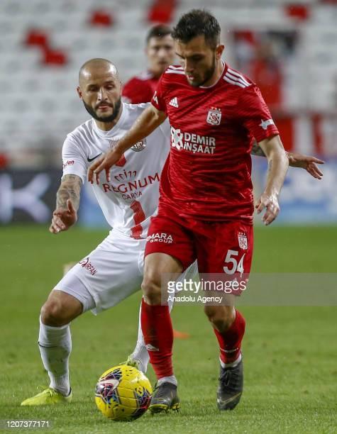 Fyodor Kudryasov of Demir Grup Sivasspor in action during the Turkish Super Lig week 26 football match between Fraport TAV Antalyaspor and Demir Grup...