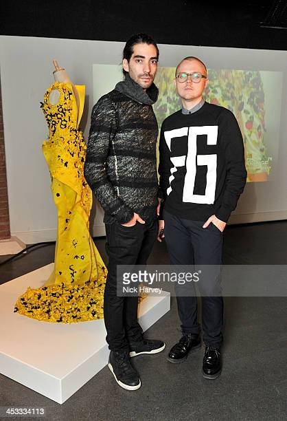 Fyodor Podgorny and Golan Frydma attend the Fashion Fringe 10 Year Anniversary Party at the London Film Museum on December 3 2013 in London England