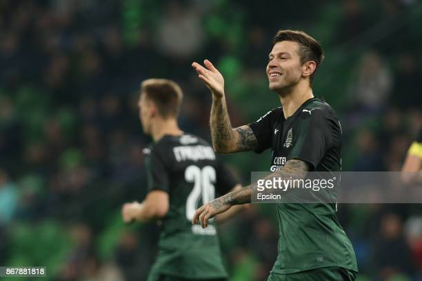 Fyodor Smolov of FC Krasnodar celebrates after scoring a goal during the Russian Premier League match between FC Krasnodar v FC SKA Khabarovsk at the...
