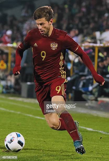 Fyodor Smolov of Russia in action during international friendly football match between Russia and Croatia at Olymp II stadium on November 17 2015 in...