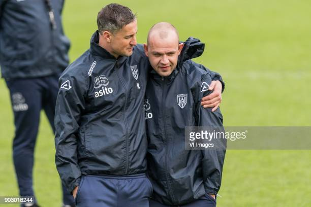 fysiotherapist Niki Lieferink of Heracles Almelo assistent trainer Peter Reekers of Heracles Almelo during a training session of Heracles Almelo at...