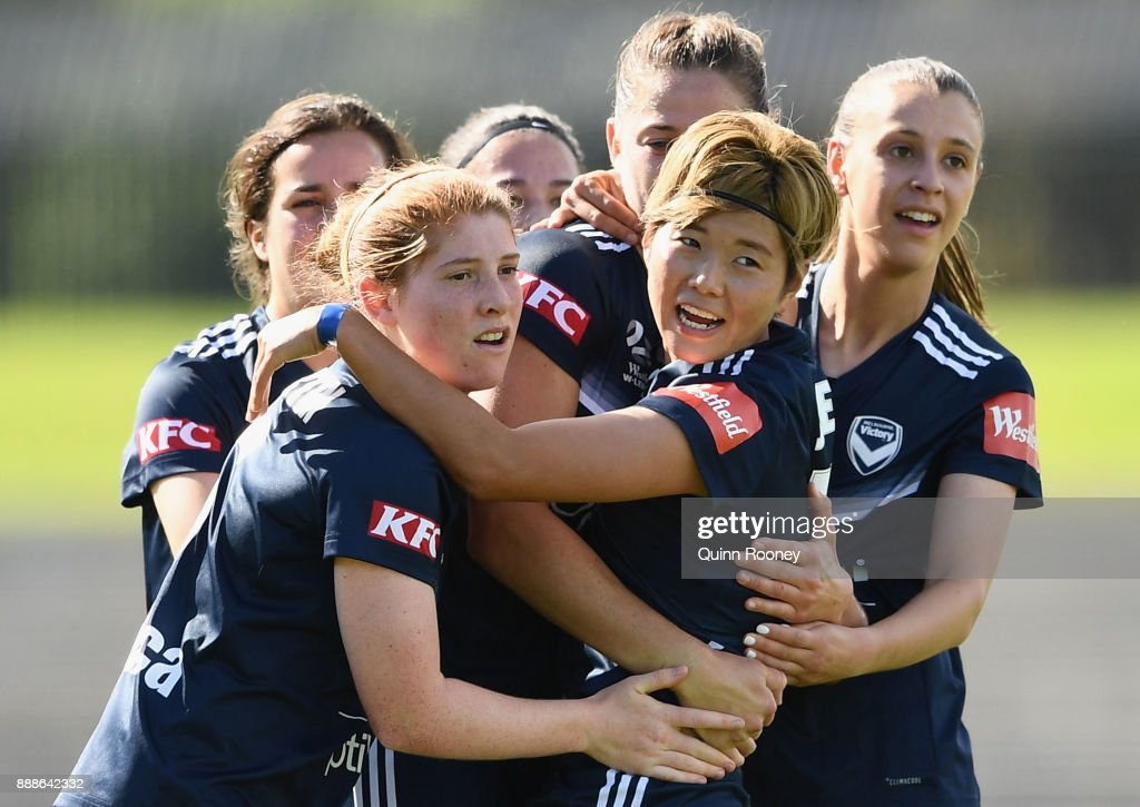 Ga Eul Jeon of the Victory is congratulated by team mates after scoring a goal during the round seven W-League match between the Melbourne Victory and Adelaide United at Lakeside Stadium on December 9, 2017 in Melbourne, Australia.