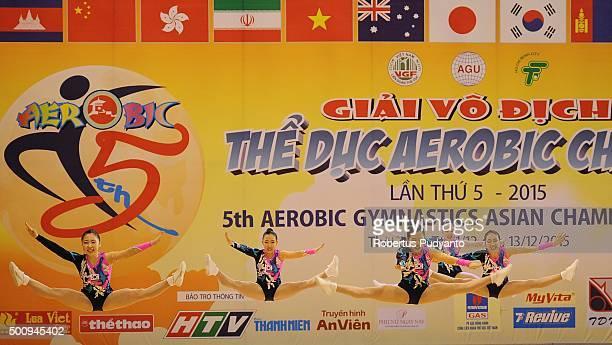 Ga Yeon Ham Eun Ha Cho Ye Rin Kim Hwang Hye Bin Jang and Hyeon Ji Kim of Korea compete in Qualification Age Group 2 Groups during the 5th Asian...
