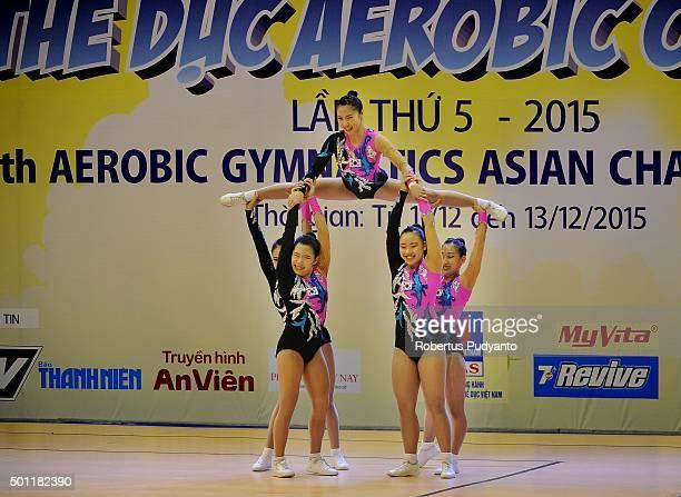 Ga Yeon Ham Eun Ha Cho Ye Rin Kim Hwang Hye Bin Jang and Hyeon Ji Kim of Korea compete in FinalAge Group 2 Groups during the 5th Asian Aerobic...